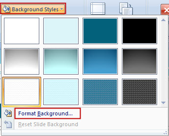 Choose Format Background